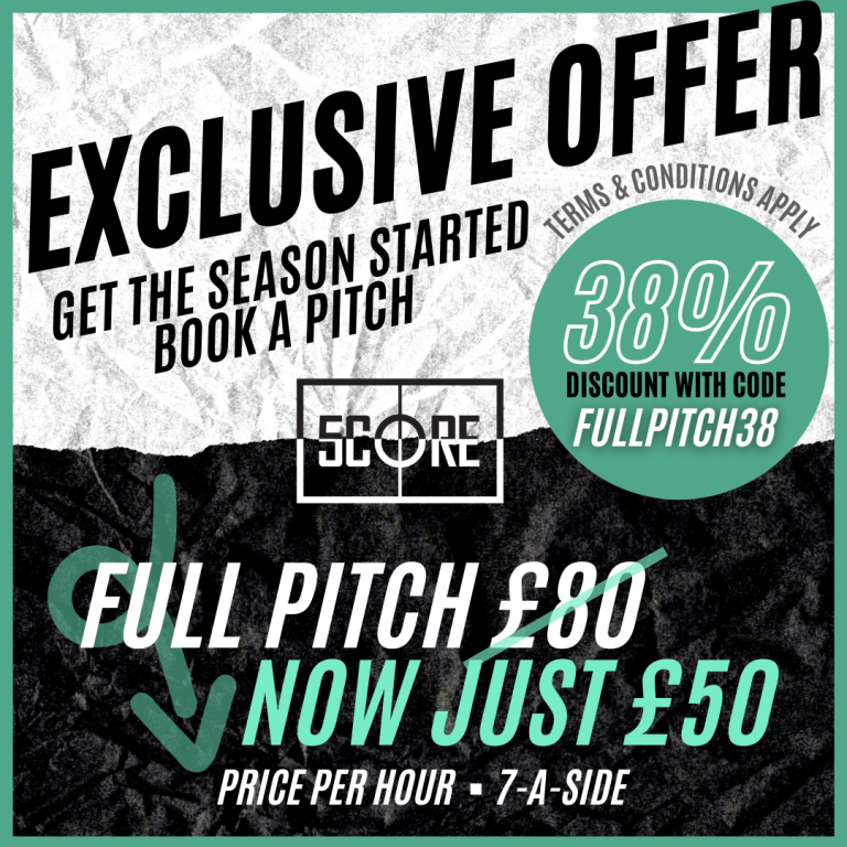 Enter discount code FULLPITCH38 at checkout. For bookings in August - September 2021. Valid Monday - Friday 10am - 5pm and Saturday - Sunday 10am - 10pm.  For new customers only, 1-3 pitch bookings.